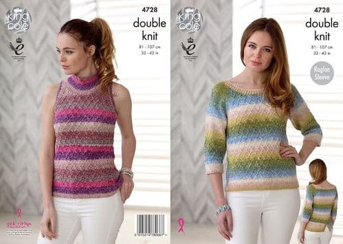King Cole Shine DK Sweater and Top Knitting Pattern 4728