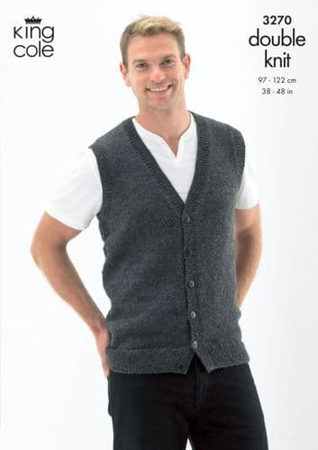 King Cole Slipover and Waistcoat Mens Knitting Pattern 3270