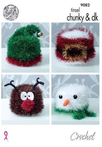 King Cole Tinsel Christmas Toilet Roll Covers Crochet Pattern 9082