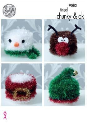 King Cole Tinsel Christmas Toilet Roll Covers Knitting Pattern 9083