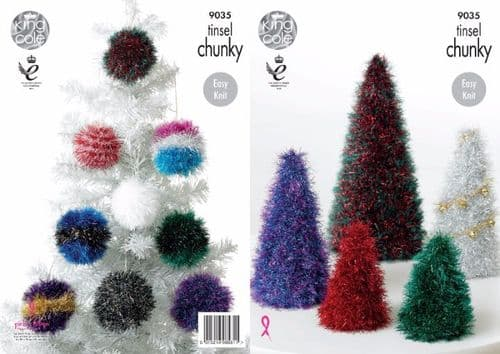 King Cole TINSEL Christmas Trees and Baubles Knitting Pattern 9035