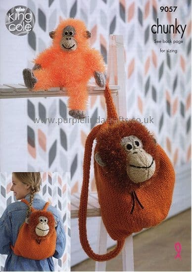 King Cole Tinsel Orangutan Toy and Backpack Knitting Pattern 9057
