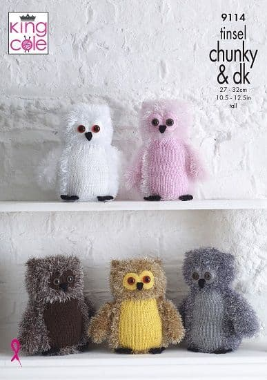 King Cole Tinsel OWLS Knitting Pattern 9114