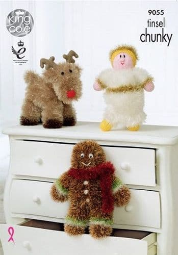 King Cole Tinsel Reindeer Angel Gingerbread Man Christmas Knitting Pattern 9055