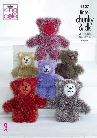 King Cole Tinsel TEDDIES Knitting Pattern 9107