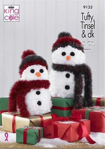 King Cole Tufty Tinsel SNOWMEN Knitting Pattern 9133