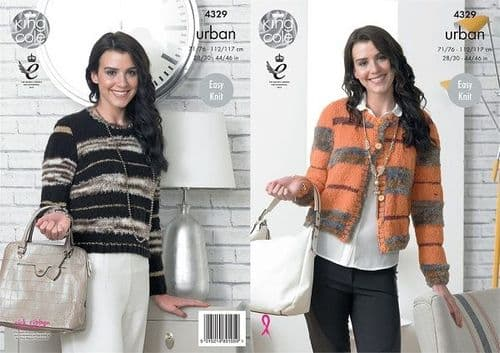 King Cole URBAN Boxy Jacket Knitting Pattern 4329 Reduced £1