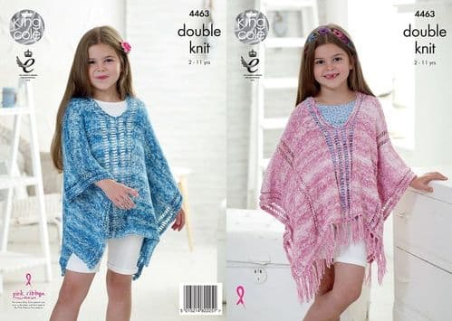 King Cole Vogue DK Girls Ponchos Knitting Pattern 4463