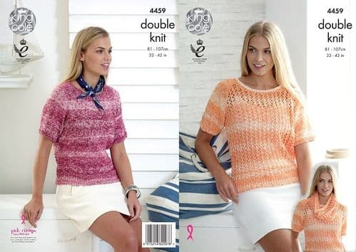 King Cole Vogue DK Ladies Sweaters Snood Knitting Pattern 4459