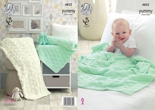 King Cole Yummy Blankets Knitting Pattern 4822