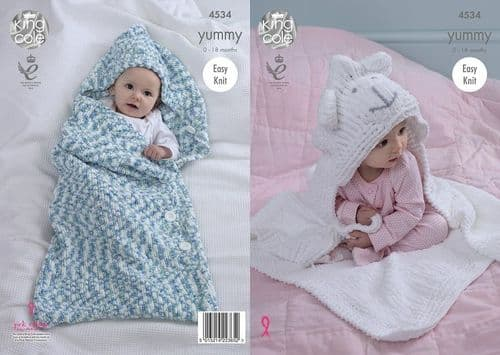 King Cole Yummy Cocoon & Blanket Knitting Pattern 4534