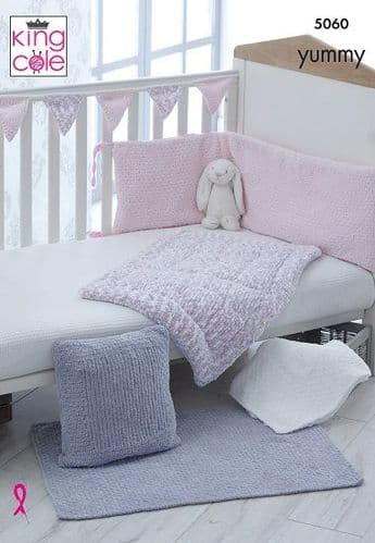King Cole Yummy Cot Bumper Blankets Cushion & Bunting Knitting Pattern 5060