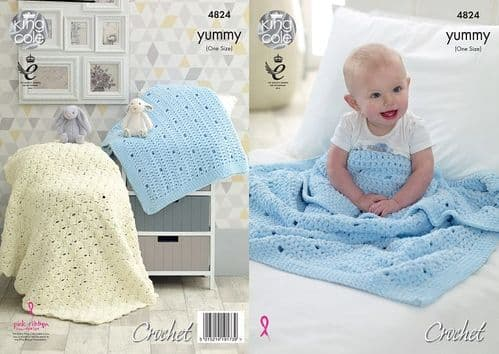 King Cole Yummy Crochet Blankets Pattern 4824