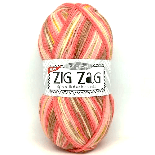 King Cole ZIG ZAG 4ply 3234 Corals DISCONTINUED