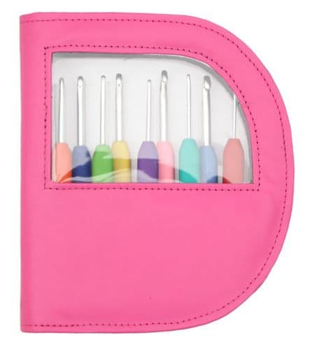 KnitPro WAVES Crochet Hook Set Fluorescent PINK