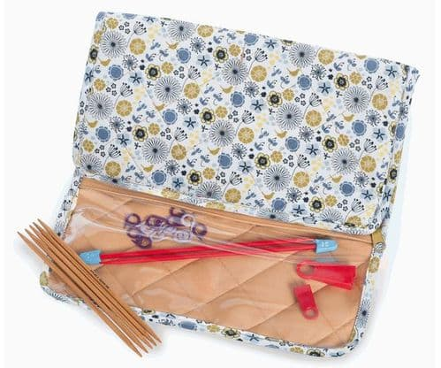 Milward Knitting Needle Holder Cream, Beige, Blue Flowers REDUCED
