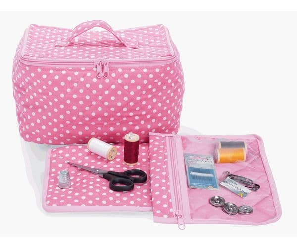 Milward Knitting Sewing Crochet Project Bag Pink Dot