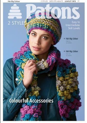 Patons Fab Big Colorful Accessories Knit Crochet Pattern 3872