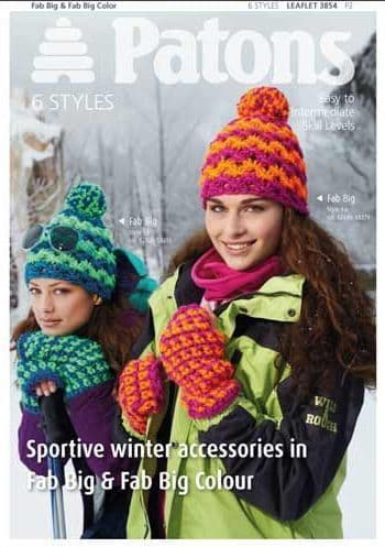 Patons Fab Big Sportive Winter Accessories Knitting Pattern 3854