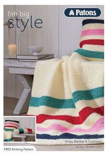 Patons Fab Big Stripy Pillow & Blanket Knitting Pattern 5353 FREE