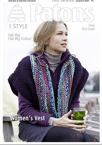 Patons Fab Big Vest Knitting Pattern 4041