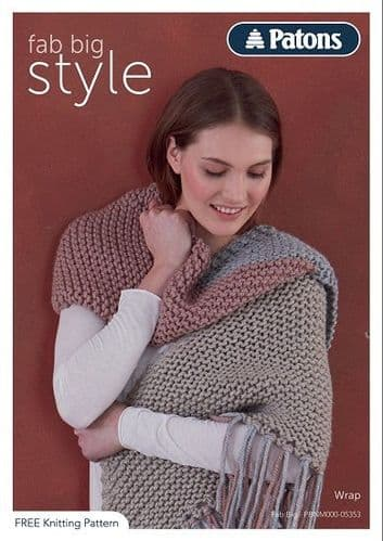 Patons Fab Big Wrap Knitting Pattern 5353 FREE