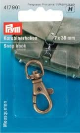 Prym Snap Keyring Hook 38mm Antique Brass
