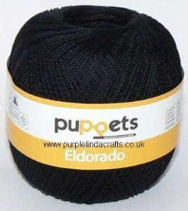 Puppets Eldorado No.12 Crochet Cotton 4251 Black 50g