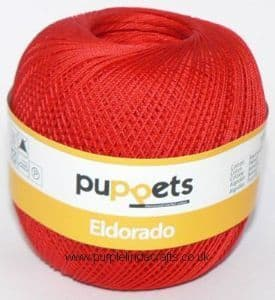 Puppets Eldorado No.12 Crochet Cotton 7046 Red 50g