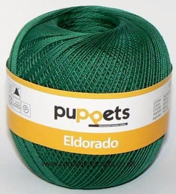 Puppets Eldorado No10 Crochet Cotton 6332 Dk Green 50g
