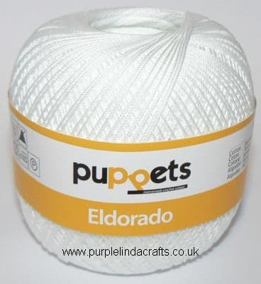 Puppets Eldorado No10 Crochet Cotton 7001 WHITE 50g