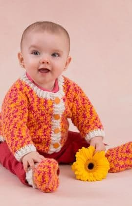 Red Heart ANNE GEDDES Baby Cardigan and Booties Crochet Pattern FREE