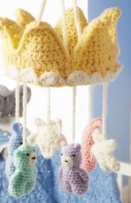 Red Heart ANNE GEDDES Baby Mobile Crochet Pattern FREE