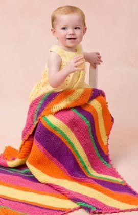 Red Heart ANNE GEDDES Bright Stripes Blanket Knitting Pattern FREE