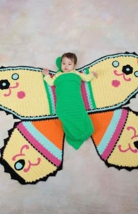 Red Heart ANNE GEDDES Butterfly Baby Blanket and Cocoon Crochet Pattern FREE