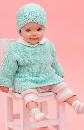 Red Heart ANNE GEDDES Camilla Baby Sweater Hat Knitting Pattern FREE