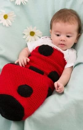 Red Heart ANNE GEDDES Ladybug Baby Cocoon Crochet Pattern FREE