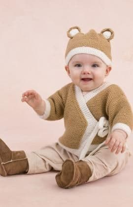 Red Heart ANNE GEDDES Teddy Sweater and Hat Knitting Pattern FREE