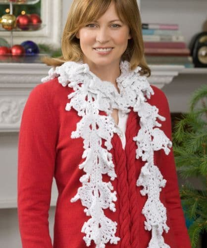 Red Heart HOLIDAY Falling Snowflake Scarf Crochet Pattern FREE
