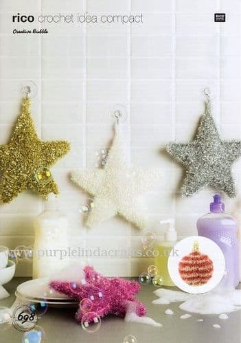 Rico Bubble Christmas Stars & Baubles Crochet Pattern 698