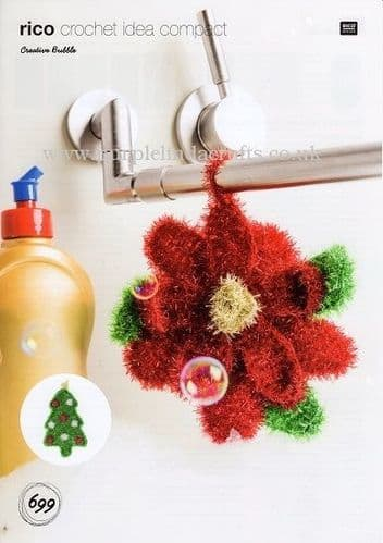 Rico Bubble Christmas Tree & Poinsettia Crochet Pattern 699