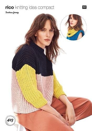 Rico Fashion JERSEY Sweater and Loop Scarf Knitting Pattern 403
