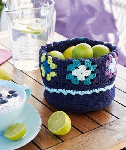 Schachenmayr Sun City Table Basket Crochet Pattern FREE with purchase