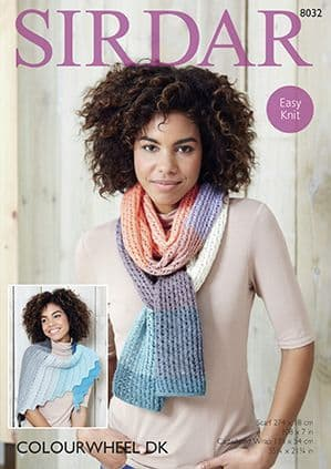 Sirdar Colourwheel Scarf and Wrap Knitting Pattern 8032