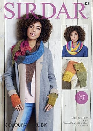 Sirdar Colourwheel Snood Wrap Mittens Knitting Pattern 8031