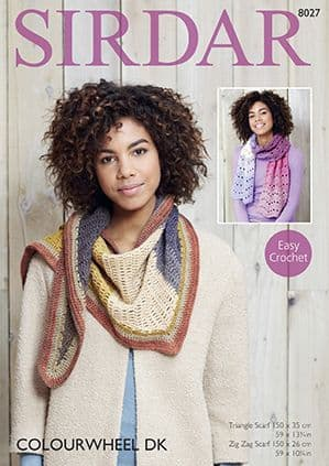 Sirdar Colourwheel Triangle and Zig Zag Scarves Crochet Pattern 8027