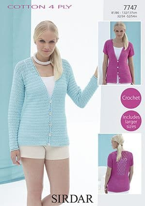 Sirdar Cotton 4 Ply Cardigans Crochet Pattern 7747 Back detail