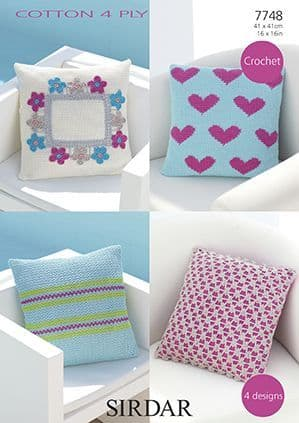 Sirdar Cotton 4 Ply Cushion Covers Crochet Pattern 7748