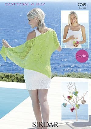 Sirdar Cotton 4 Ply Shawl Heart Crochet Pattern 7745 REDUCED £1
