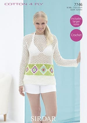 Sirdar Cotton 4 Ply Summer Top Crochet Pattern 7746